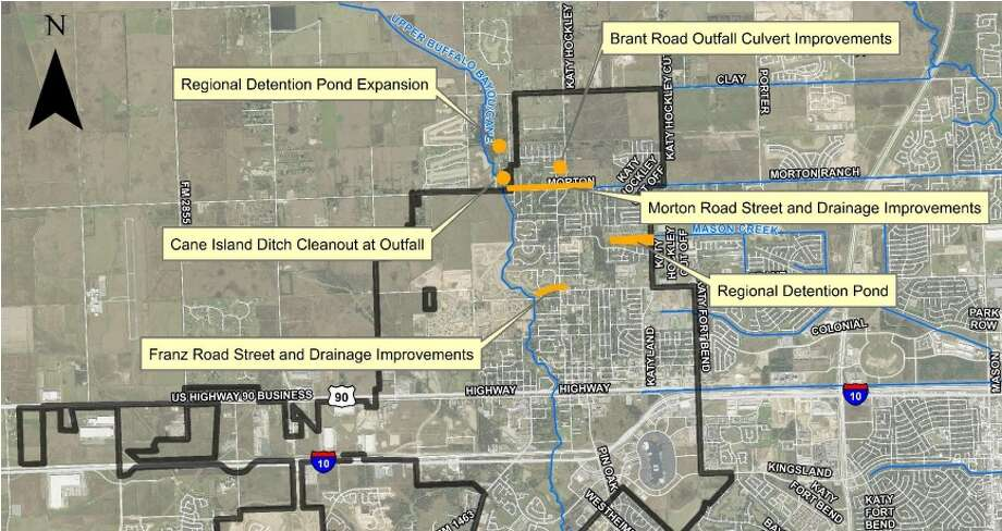 This map shows short-term flood prevention projects the city of Katy is undertaking. The city was one of several areas in the Houston to be affected by catastrophic flooding last April. Photo: Costello, Inc.