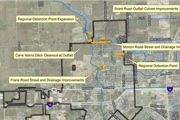 This map shows short-term flood prevention projects the city of Katy is undertaking. The city was one of several areas in the Houston to be affected by catastrophic flooding last April.