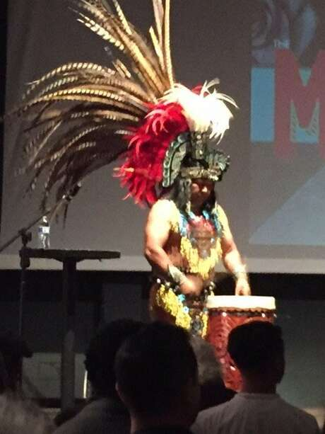 Drummer at launch of Dick Evans' 'The Mission' Photo: Leah Garchik, San Francisco Chronicle