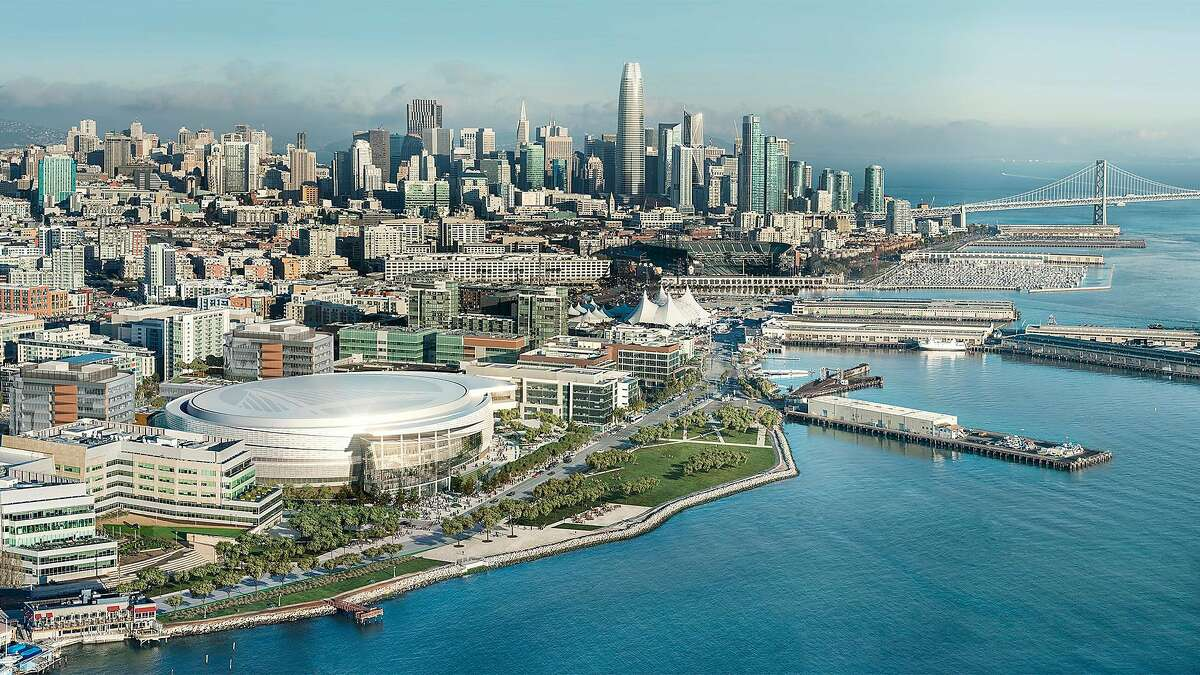The Chase Center, located in the Mission Bay district of San Francisco, will be the future home of the Golden State Warriors. These computer-generated renderings show an approximation of how the finished arena will look.