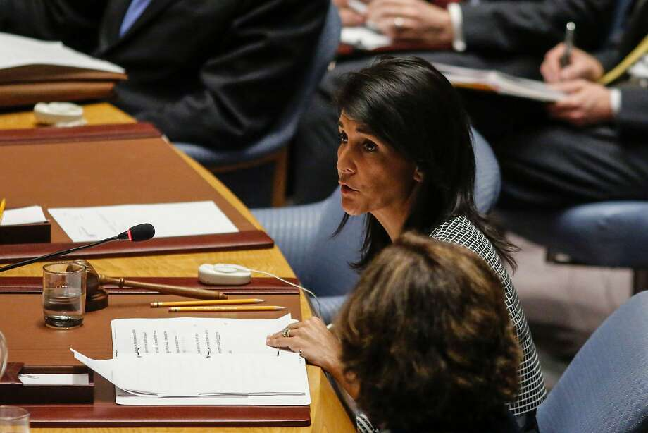 """U.N. Ambassador Nikki HaleyHaley warned the U.N. Security Council fails to take human rights violations seriously, they can escalate into """"threats to international peace and security."""" Photo: KENA BETANCUR, AFP/Getty Images"""