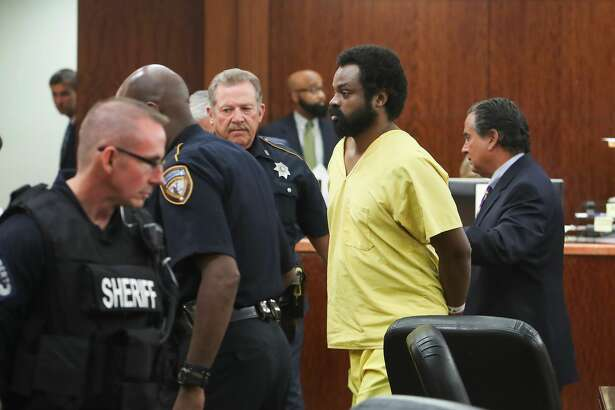 Shannon Miles leaves the courtroom Tuesday, April 18, 2017, in Houston. Miles faces a capital murder case, accused of fatally shooting Sheriff's Deputy Darren Goforth( Steve Gonzales  / Houston Chronicle )