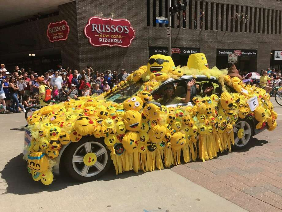 An emoji-themed car won third place for Memorial Drive Elementary at the 30th annual Houston Art Car Parade in the under 18 division.