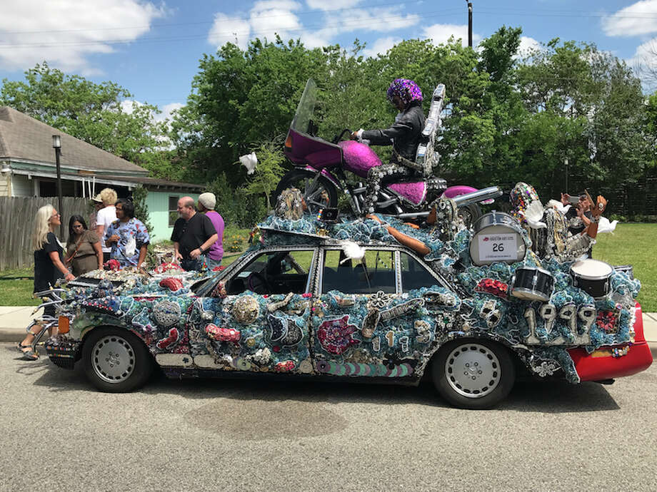 Heights High School's art car class put together a winner at the 30th Annual  Houston Art Car Parade. Their entry - Purple Reign - brought home the Mayor's Cup. Photo: Submitted Photo