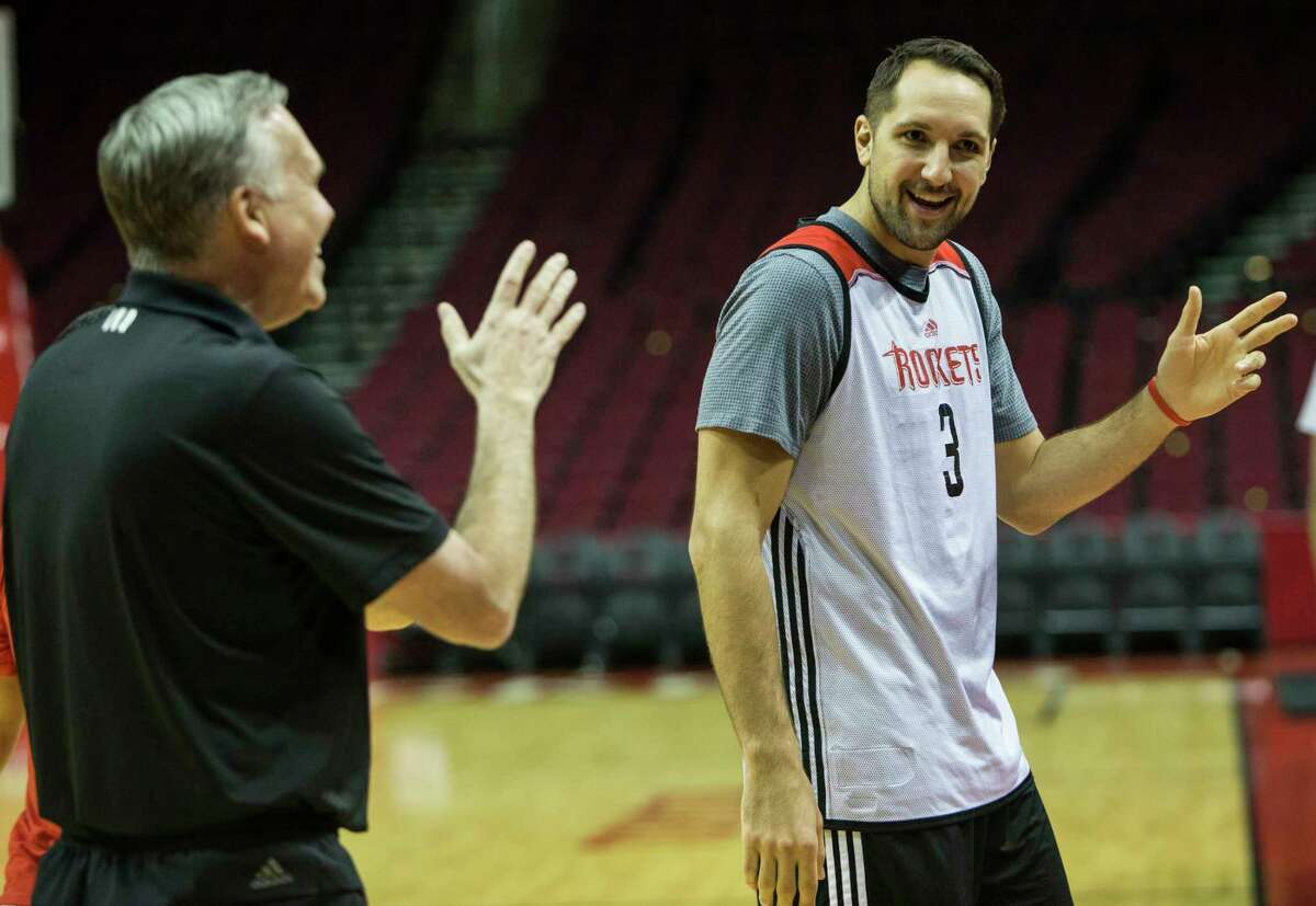 Houston Rockets head coach Mike D'Antoni, left, talks to forward Ryan Anderson during practice at Toyota Center on Tuesday, April 18, 2017, in Houston. The Rockets play the Oklahoma City Thunder in Game 2 of first round of the NBA Western Conference Playoffs on Wednesday at Toyota Center.