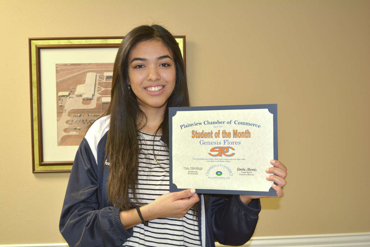 Genesis Flores, a sophomore at South Plains College, is Chamber of Commerce Student of the Month for April. The 21-year-old daughter of Juan and Olivia Flores of Plainview, she is a cosmetology student. In high school, Flores was a member of the band four years, in DECA three years and National Honor Society one year. In high school, she received the 2013 National Award from the United States Achievement Academy. At Wayland, she received outstanding achievement in international management. Her hobbies include paying guitar and piano, reading, drawing and sewing. During summer 2016, Flores participated in a mission trip through Wayland to Macedonia, Kosovo and Greece. This year, Flores was involved in bake sales to benefit South Plains College's Relay for Life team. Her future plans include working at a hair salon to get experience as a stylist before returning to college to finish her studies for a business degree.