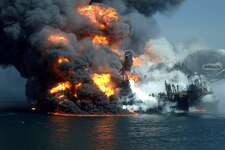 An April 22, 2010 photo obtained by The Associated Press shows the Deepwater Horizon oil platform burning following a massive explosion in the Gulf of Mexico. (AP Photo)