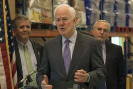 Senator John Cornyn speaks 04-18-17 at the Midland West Texas Food Bank about new legislation to reduce food insecurity and poverty. Tim Fischer/Reporter-Telegram