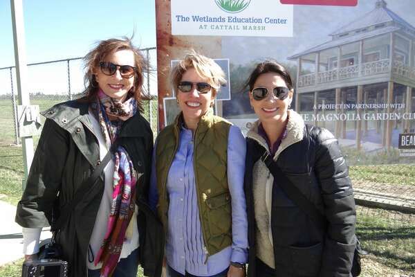 Karen McCormick, Chris Draths and JoEllyn Jowers at the groundbreaking for The Wetlands Education Center at Cattail Marsh.      Photo: Shelly Vitanza