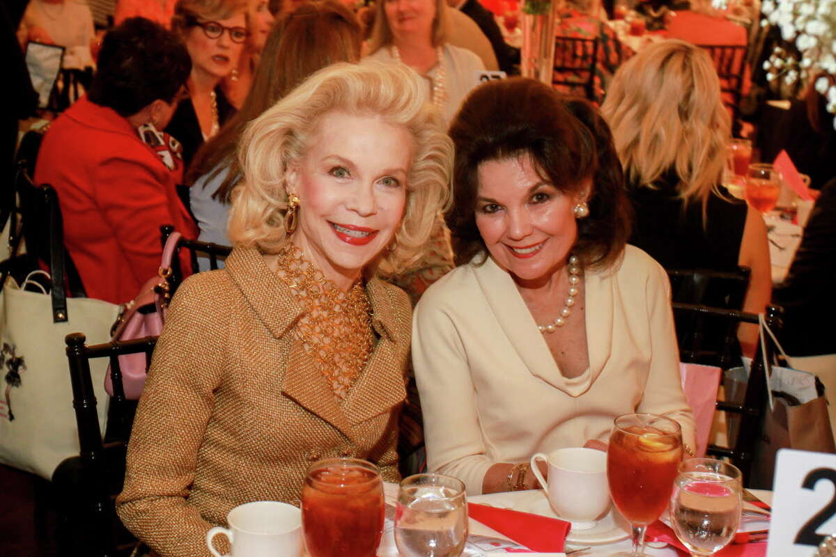 Lynn Wyatt, left, and Linda McReynolds at the Salvation Army Luncheon and Fashion Show. (For the Chronicle/Gary Fountain, April 18, 2017)