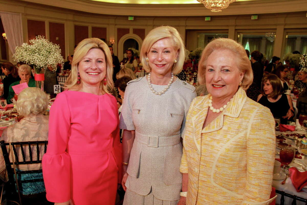 Maureen Higdon, from left, Ann Bookout and Margot Perot at the Salvation Army Luncheon and Fashion Show. (For the Chronicle/Gary Fountain, April 18, 2017)
