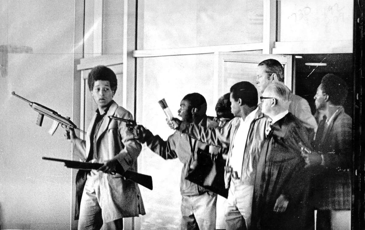 Gunmen hold hostages during the Marin County Civic Center courthouse hostage incident on August 7, 1970.