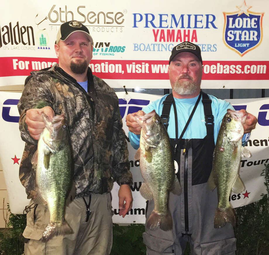 Steve Lee and Aaron Schultz came in fourth place in the CONROEBASS Tuesday Night Tournament with a weight of 8.22 pounds. Photo: Conroe Bass