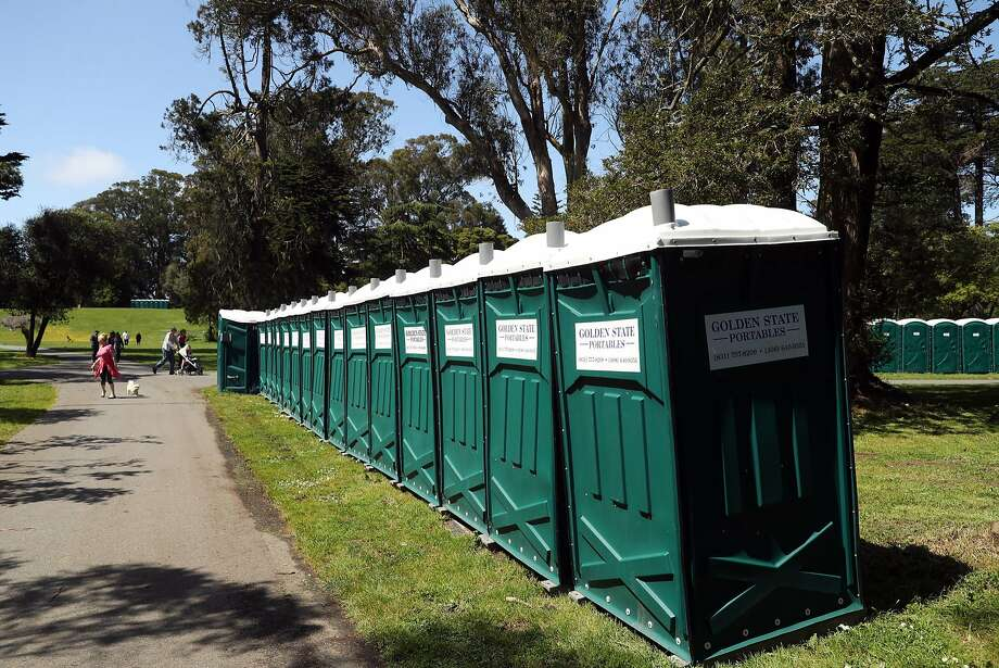 These well-behaved Porta-Potties in Golden Gate Park in San Francisco are in no danger of suddenly going airborne. Photo: Scott Strazzante, The Chronicle