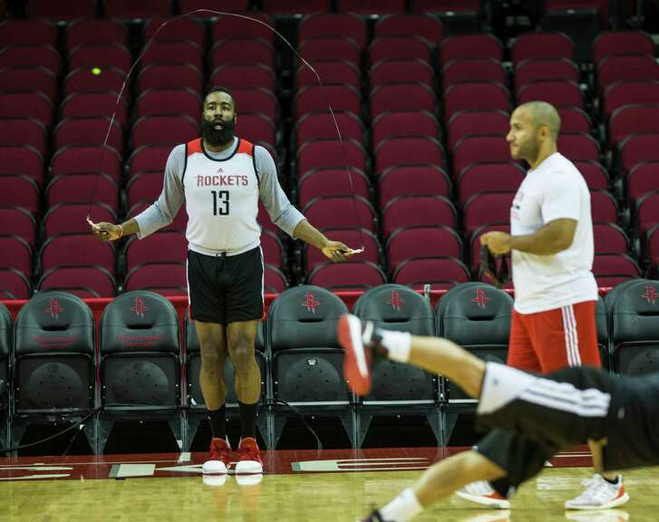 Houston Rockets guard James Harden (13) jumps rope during practice at Toyota Center on Tuesday, April 18, 2017, in Houston. The Rockets play the Oklahoma City Thunder in Game 2 of first round of the NBA Western Conference Playoffs on Wednesday at Toyota Center.  ( Brett Coomer / Houston Chronicle )