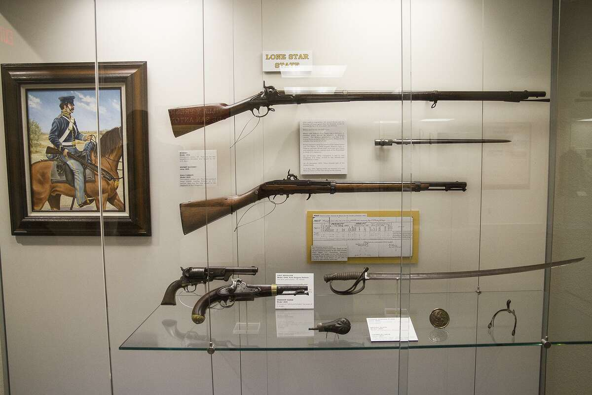 A display case of the oldest items found in the Fort Sam Houston Museum.