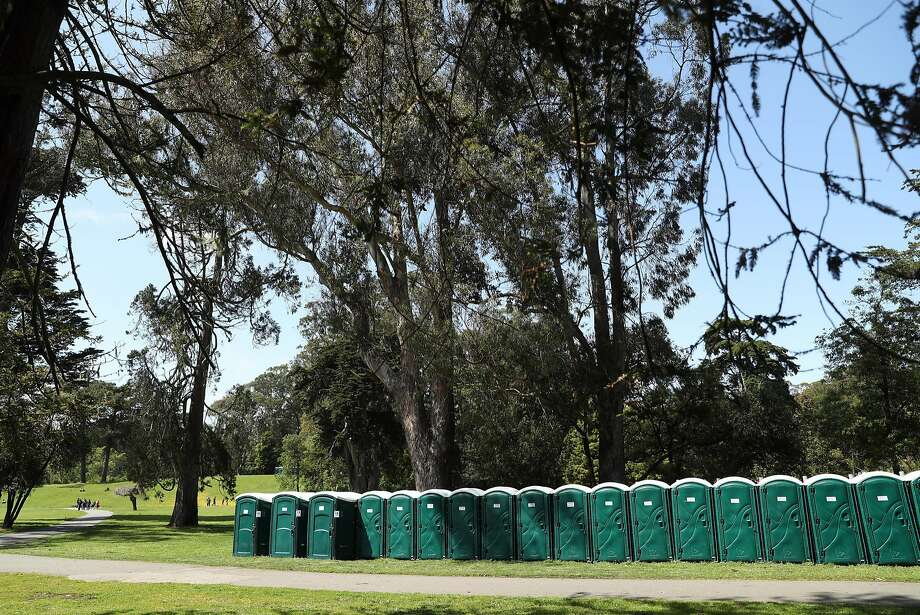 In advance of 420 Smoke Fest, porta potties have been delivered to Hippie Hill in Golden Gate Park in San Francisco, Calif., on Tuesday, April 18, 2017. Photo: Scott Strazzante, The Chronicle