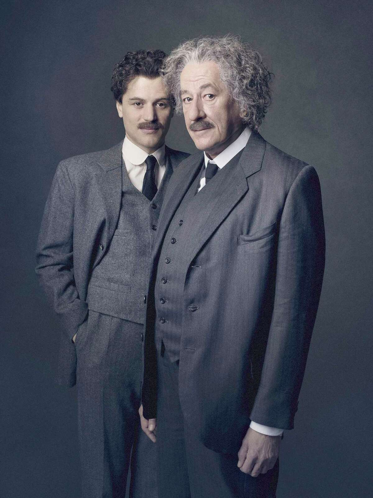 Johnny Flynn, left, plays Albert Einstein as a young man and Academy Award winning Geoffrey Rush plays him as an older man in National Geographic's new series,