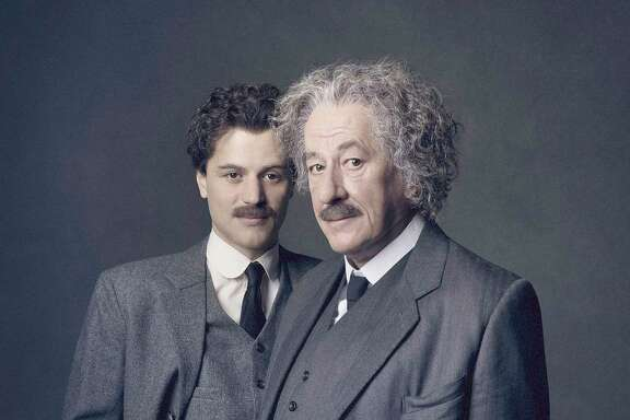 "Johnny Flynn, left, plays Albert Einstein as a young man and Academy Award winning Geoffrey Rush plays him as an older man in National Geographic's new series, ""Genius,"" premiering Tuesday."