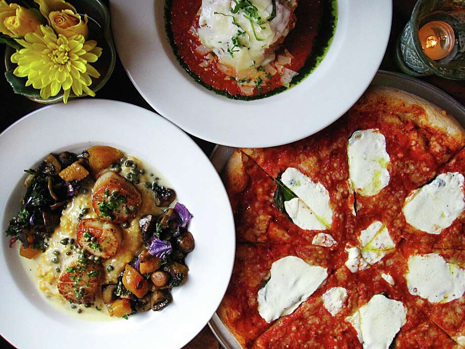 Clockwise from left: Scallops with butternut squash risotto, lasagna with basil pesto and a Margherita pizza from Southtown Pizzeria. Photo: Mike Sutter /San Antonio Express-News