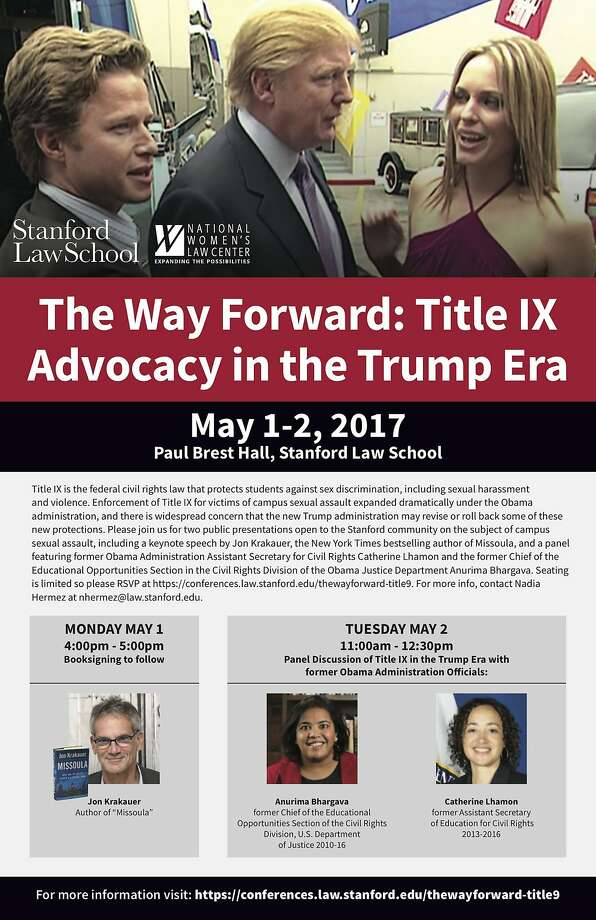 A poster about a Stanford University panel on sexual harassment includes a photo of Donald Trump in 2005. Photo: Stanford University, Courtesy