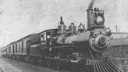 Image of an International & Great Northern steam engine taken in Palestine, Texas, in 1893. It was the second railroad to serve San Antonio, arriving in 1881.