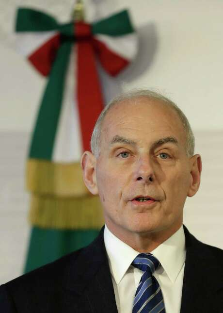 Homeland Security Secretary John Kelly speaks during a joint statement to the press by U.S. and Mexican officials at the Foreign Affairs Ministry in Mexico City, Thursday, Feb. 23, 2017. Mexico's mounting unease and resentment over President Donald Trump's immigration crackdown are looming over a Thursday meeting between Kelly, Secretary of State Rex Tillerson, and Mexican leaders that the U.S. had hoped would project a strong future for relations between neighbors. (AP Photo/Rebecca Blackwell) Photo: Rebecca Blackwell, STF / Copyright 2017 The Associated Press. All rights reserved.