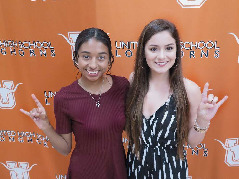 United held a joint scholarship ceremony Tuesday as Alexia Nava, left, committed to run cross country at University of Texas of the Permian Basin and Erika Lozano signed on to play volleyball at Laredo Community College. Photo: Cuate Santos /Laredo Morning Times / Laredo Morning Times