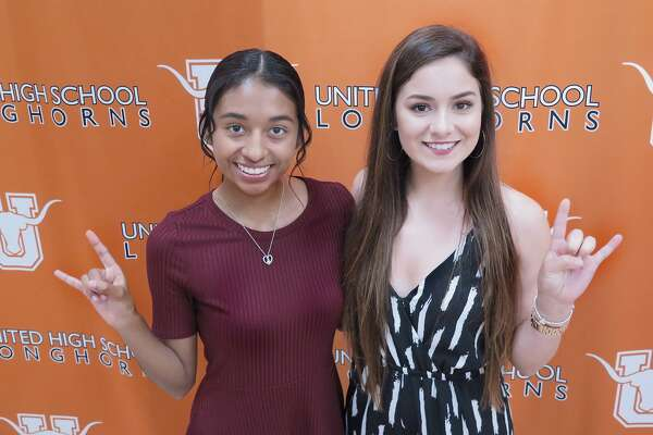 United held a joint scholarship ceremony Tuesday as Alexia Nava, left, committed to run cross country at University of Texas of the Permian Basin and Erika Lozano signed on to play volleyball at Laredo Community College.