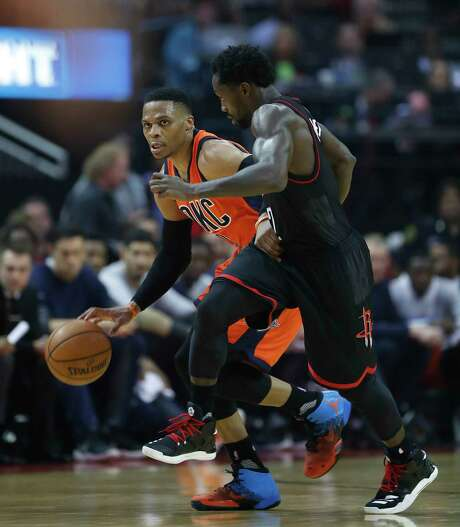 """The Thunder's Russell Westbrook, left, isn't concerned about the defense of Pat Beverley, saying, """"I can pretty much do what I want,"""" but the Rockets' prolific offense has Oklahoma City's attention after a lopsided outcome in Game 1. Photo: Karen Warren, Staff Photographer / 2017 Houston Chronicle"""