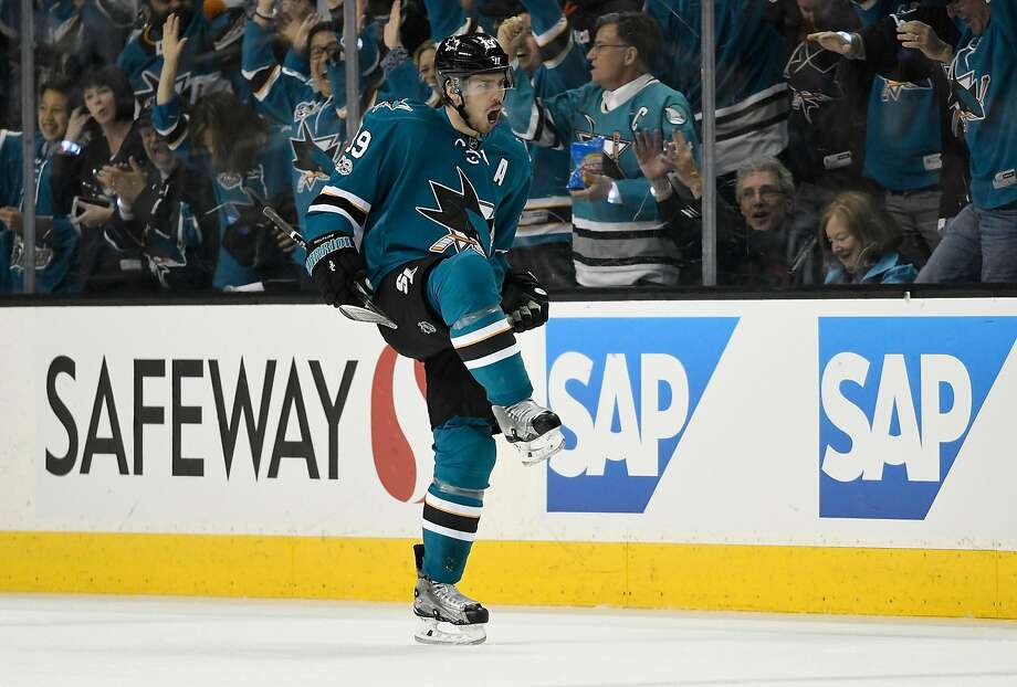 SAN JOSE, CA - APRIL 18:  Logan Couture #39 of the San Jose Sharks celebrates after scoring a goal against the Edmonton Oilers during the first period in Game Four of the Western Conference First Round during the 2017 NHL Stanley Cup Playoffs at SAP Center on April 18, 2017 in San Jose, California.  (Photo by Thearon W. Henderson/Getty Images) Photo: Thearon W. Henderson, Getty Images