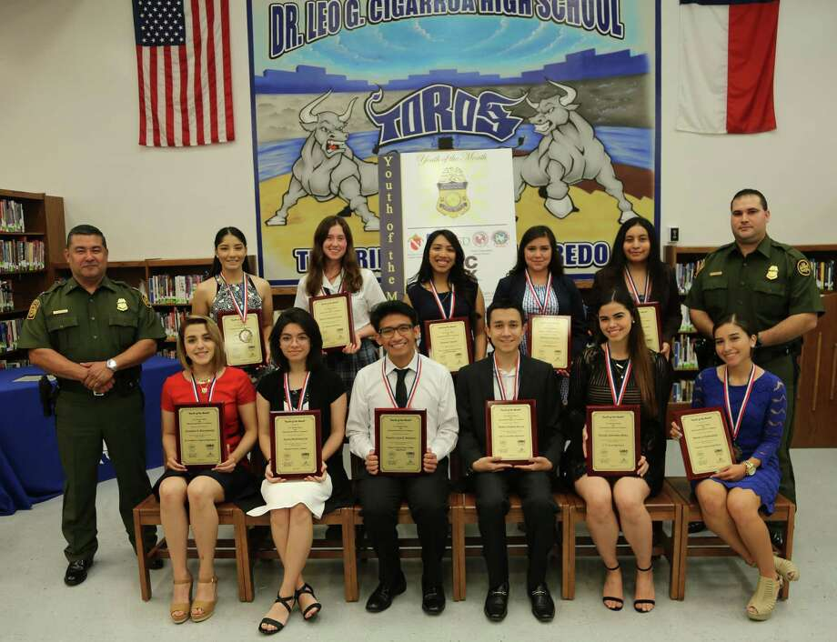 The Youth of the Month recipients for April are pictured at a ceremony held at Cigarro High School. Photo: Courtesy Photo