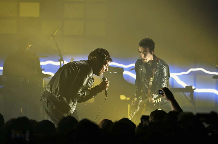 Damon Albarn sings with the band the Gorillaz as they perform their new album Humanz on stage in London, Friday, March 24, 2017. (Photo by Mark Allan/Invision/AP) Photo: Mark Allan, Associated Press