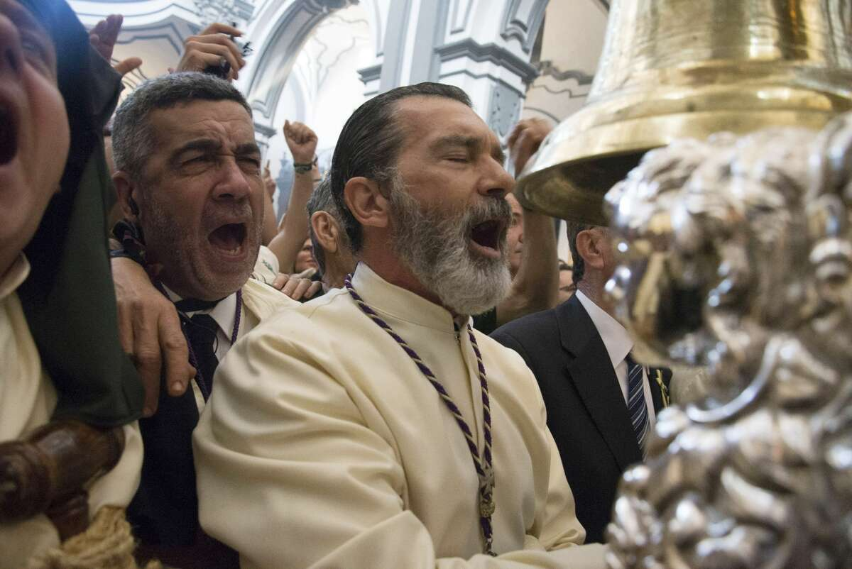 Actor Antonio Banderas attends Palm Sunday procession during the Holy Week celebrations on April 9, 2017 in Malaga, Spain.