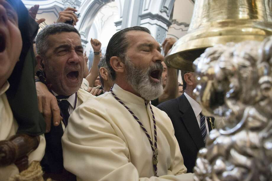 Actor Antonio Banderas attends Palm Sunday procession during the Holy Week celebrations on April 9, 2017 in Malaga, Spain. Photo: Europa Press/Europa Press Via Getty Images