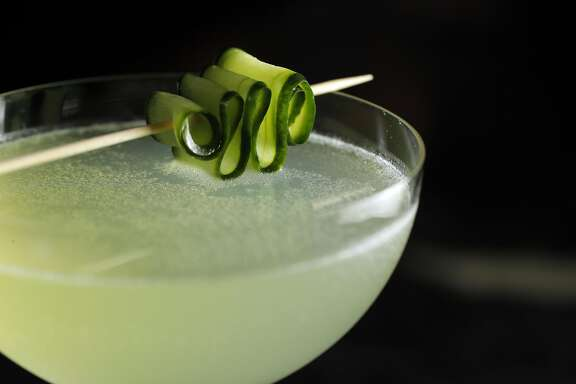 The Emerald Fog cocktail served at Parallel 37 the bar at the Ritz Carlton in San Francisco, Calif., on Tuesday, April 18, 2017.