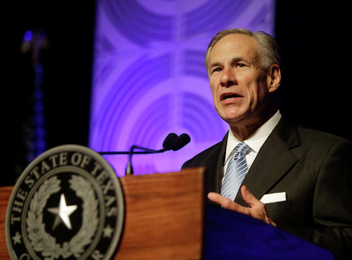 Texas Governor Greg Abbott gives a State of State speech at the Greater Houston Partnership event Hilton Americas, 1600 Lamar St., Tuesday, April 18, 2017, in Houston.Continue clicking to see
