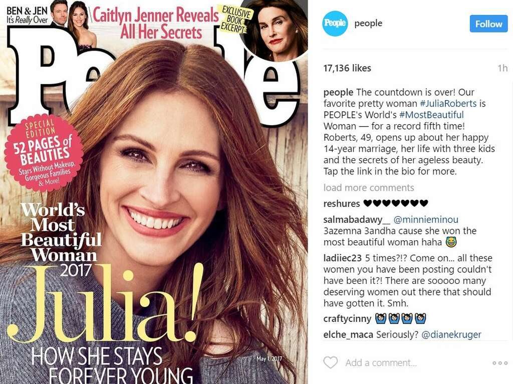 julia roberts has been named people magazines worlds most beautiful woman for a record