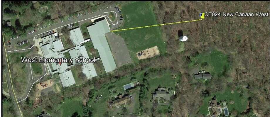 An aerial shot depicting the distance between West School and the proposed cellular tower in New Canaan, Conn. Photo: Contributed / Hearst Connecticut Media / New Canaan News