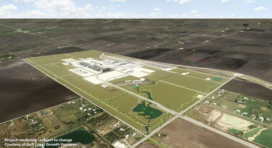 This rendering shows the likely layout of the proposed Exxon/SABIC ethane steam cracker facility northwest of Portland, Texas. The 1,400-acre site was chosen Wednesday by Exxon and SABIC, who are now beginning the permitting process with the TCEQ. Photo: Courtesy Photo /Courtesy Photo
