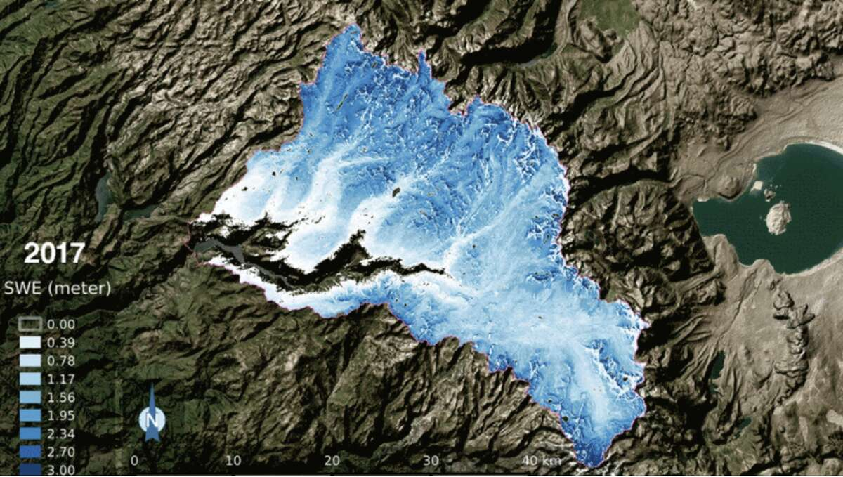 The snow water equivalent-- water content of snow -- in the Tuolumne River Basin in 2017