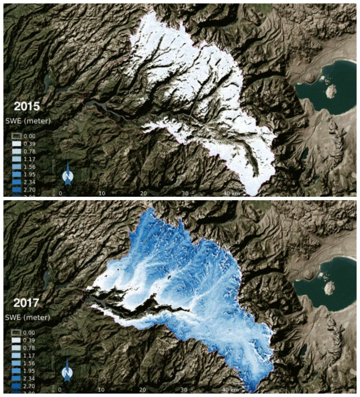 """This photo composite shows the snow water equivalent-- water content of snow -- in the Tuolumne River Basin in 2015 and 2017. White and the lighter blue indicates less snow, while deeper blue represents more snow. NASA reports: """"The 2017 snow water equivalent was 21 times greater than 2015, which was the lowest snowpack on record."""""""
