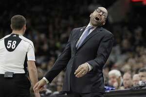 Memphis Grizzlies coach David Fizdale reacts to a call during the second half in Game 1 against the Spurs on April 15, 2017, in San Antonio.