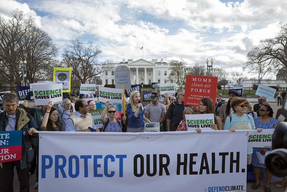 Over 517 cities in 130 countries are expected to participate in the March for Science, which coincides with Earth Day. Click through this gallery for Bay Area March for Science times, maps and important information.Above: Demonstrators gather in front of the White House to voice their opposition after President Donald Trump signed an executive order that rolled back many climate-change policies, in Washington, March 28, 2017.  Photo: STEPHEN CROWLEY, NYT