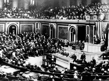 President Woodrow Wilson delivers a speech to a joint session of Congress in Washington on April 2, 1917, just days before Congress passed a resolution declaring war on Germany. The resolution, already passed by the Senate, passed the House of Representatives just after 3:00 a.m. on April 6 by a vote of 373 to 50. (AP Photo, File)