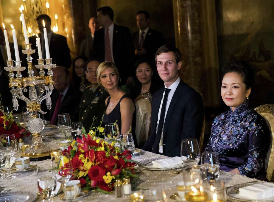 Ivanka Trump and her husband, Jared Kushner, attend an April 6 state dinner with President Xi Jinping of China and his wife at the Mar-a-Lago resort in Palm Beach, Fla. China's Ministry of Foreign Affairs spokesman Lu Kang on Wednesday defended the handling of the applications of the trademarks won by Trump and her company, saying all such requests are handled fairly. Photo: Doug Mils /New York Times / NYTNS