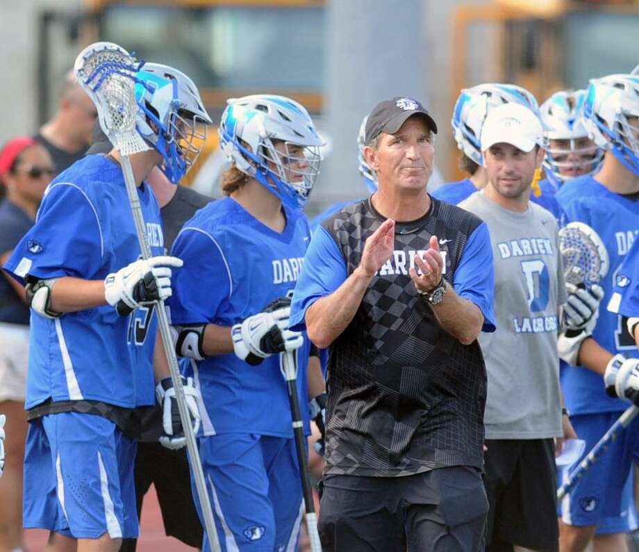 Darien boys lacrosse coach Jeff Brameier has a state record 553 victories — and counting. Photo: Bob Luckey / Hearst Connecticut Media / Greenwich Time
