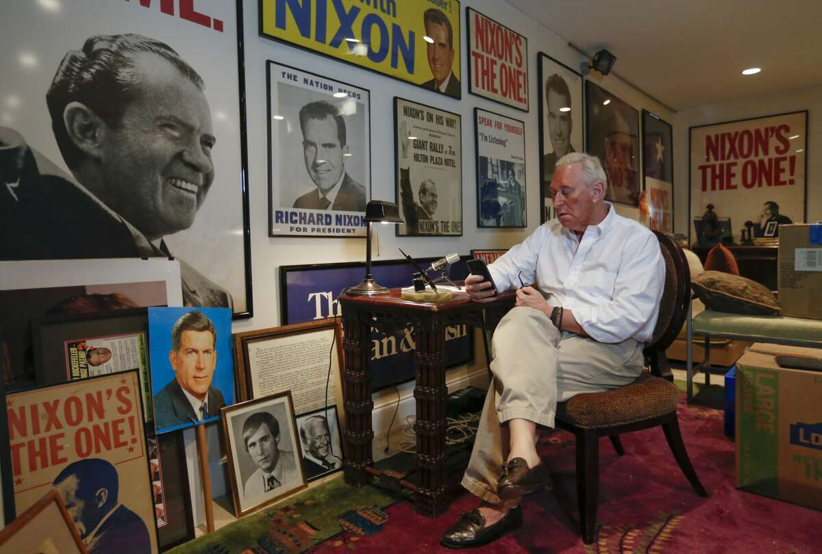 Proud to be a Nixon man: Roger Stone in his memorabilia-overrun office.