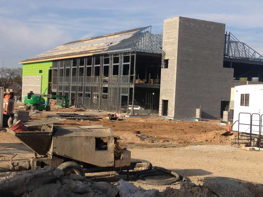Work continues on the new public safety facility on South Main Street and Schwarz Street. Photo: Bill Tucker • Intelligencer