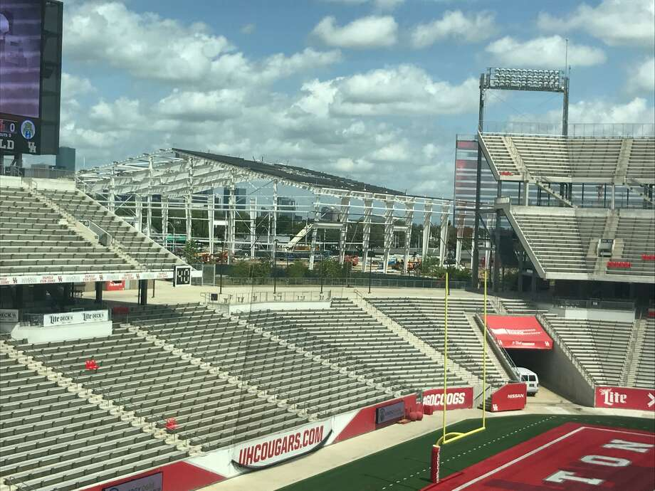 The frame of the University of Houston's indoor football facility is well on its way to being finished. Coach Major Applewhite on Wednesday said the facility should be ready for use on Sept. 1. Photo: Joseph Duarte